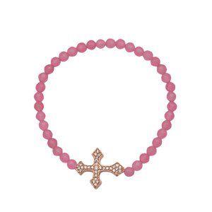 925 Silver Rose Gold Cross Pink Stretch Bracelet